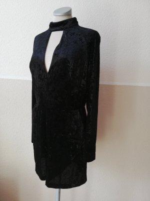 Jumpsuit Einteiler kurz schwarz Samt Gr. 38 S M Topshop gothic metal