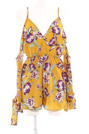Tuta giallo-oro-lilla motivo floreale stile casual