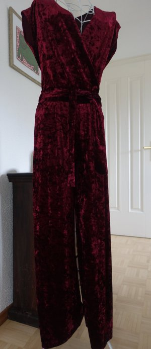 Trouser Suit dark red polyester