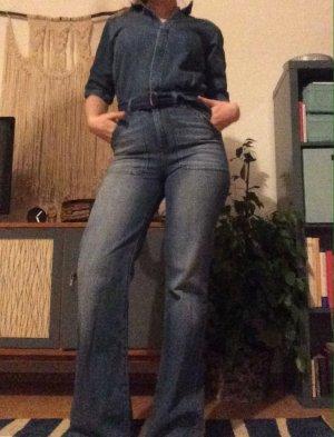 Jumpsuit Jeans ba&sh eng tailliert Schlaghose Marlenehose Retro Vintage 70er Jahre 70s