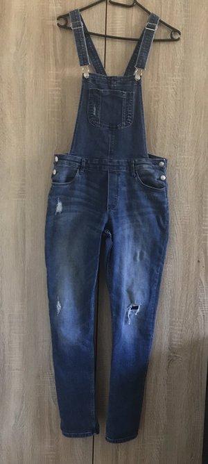 H&M Jeans stretch bleu acier-bleu fluo