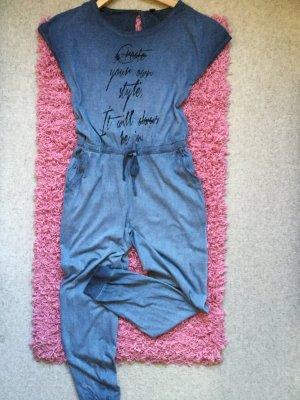 Jumpsuit, jeansblau, aus Shirtstoff