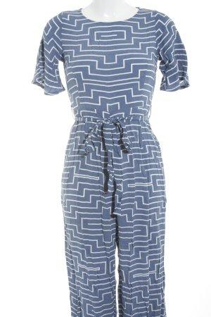 Jumpsuit kornblumenblau-weiß Streifenmuster Street-Fashion-Look