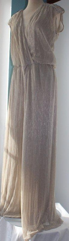Jumpsuit lang Kaleidoskop plissiert gold glamour Gr 42 M L Einteiler Hochzeit