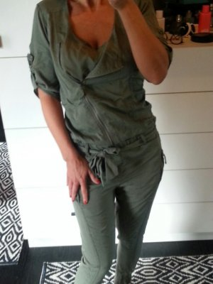 Jumpsuit Overall Einteiler khaki oliv grün Military army zara s 36 asymmetrisch jogger