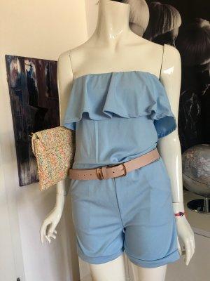Jumpsuit Overall hellblau mit Tasche im Missoni Stil