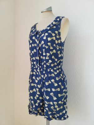 Jumpsuit Playsuit blau weiß Influence Gr. UK 10 EUR 38 S M Bubikragen Viscose Schleifen