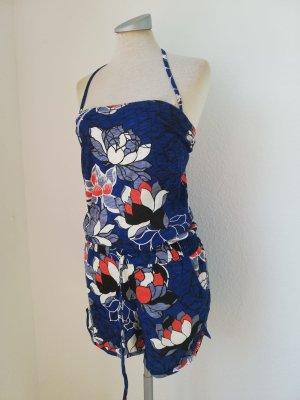Jumpsuit Playsuit blau weiß rot Neckholder Blumen skater Hawaii Gr. 34 XS neu
