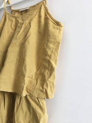 Jumpsuit Playsuit senfgelb gelb Mango Leinen Rückenausschnitt Rückenfrei