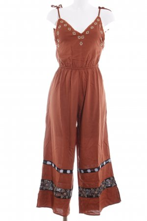 Jumpsuit rostrot Aztekenmuster Casual-Look