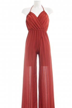 Jumpsuit rostrot Streifenmuster Casual-Look