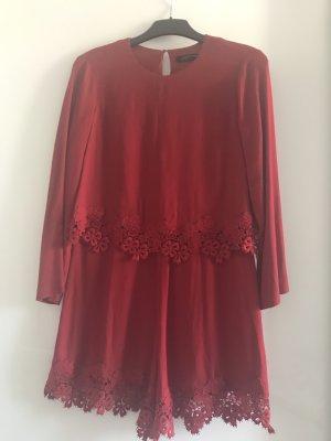 Zara Vestido de noche rojo oscuro