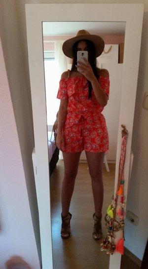 Jumpsuit rot weiß Lookbookstore S vintage blogger hipster boho off shoulder