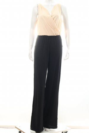 Jumpsuit schwarz-creme Materialmix-Look