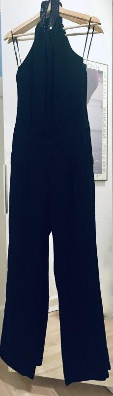 Jumpsuit schwarz mit Pailletten-Kragen