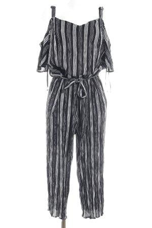 Jumpsuit schwarz-weiß Streifenmuster Elegant