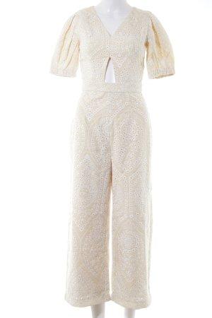 Jumpsuit weiß-creme florales Muster Elegant