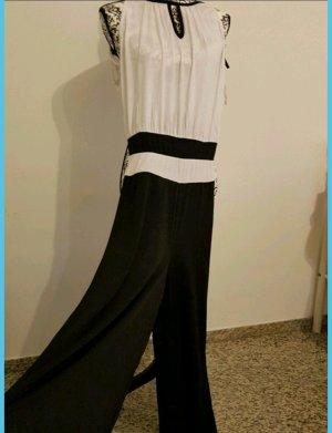 Jumpsuit weiß-schwarz