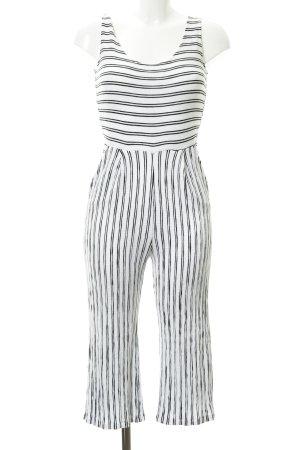 Combinaison blanc-noir motif rayé style décontracté