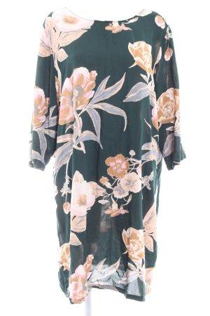 Junarose Blusenkleid dunkelgrün-beige florales Muster Casual-Look