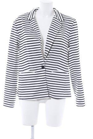 Junarose Blazer in jersey bianco sporco-nero motivo a righe stile casual