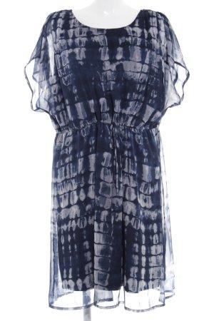 Junarose Kurzarmkleid blau-weiß abstraktes Muster Gypsy-Look