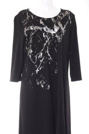 Junarose Langarmkleid schwarz-silberfarben Motivdruck Elegant