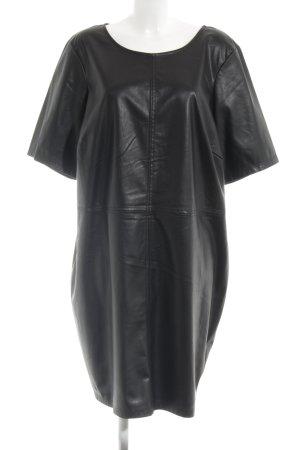 Junarose Vestido de cuero negro look casual