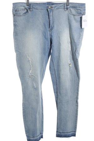Junarose Slim Jeans blau Used-Optik