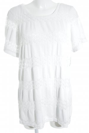 Junarose Camisa tejida blanco estilo romántico