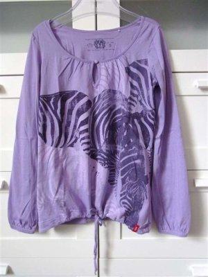Jungle Print Shirt Raff Bund Flieder Lila Creme Langarm Gr. S