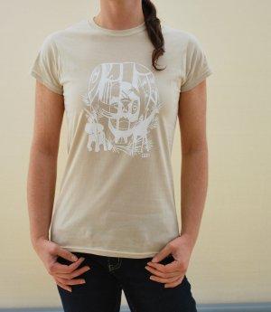 """""""Jungle White"""", T-Shirt beige/sand mit weißem Druck, NEU"""