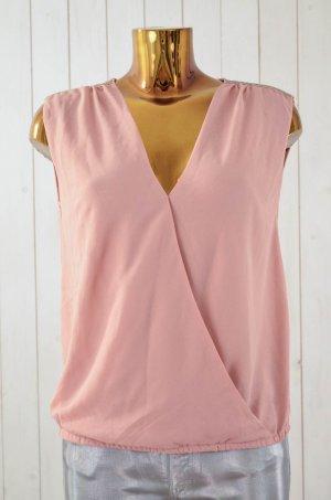 JUST ADD Damen Bluse Blusentop Chiffon Rosé Nude Perlen Metall Gr.S Neu!
