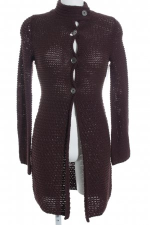 just B. Strickjacke braunrot Lochstrickmuster Casual-Look