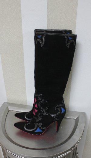 Just Cavalli Designer Wildleder Stiefel Boots High Heels Cowboy Gr 40