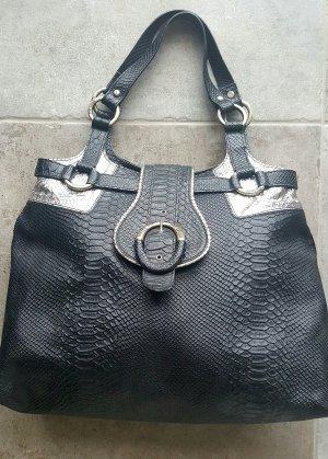 JUST CAVALLI - Echtleder Tasche, Kroko Look, schwarz/silber