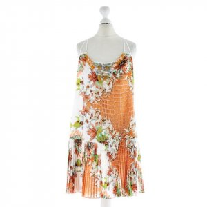 Just Cavalli Eyecatcher Dress Kleid m Träger Phyton + Blüten Print + Perlen