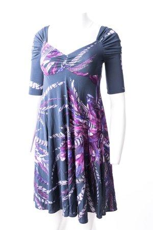 JUST CAVALLI - Kleid mit leichten Puffärmeln und Federmuster Graublau