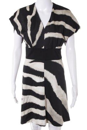 Just cavalli Kurzarmkleid schwarz-beige abstraktes Muster Elegant