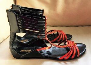 * JUST CAVALLI * NEU m Fehler : Lack Leder Gladiator SANDALEN FLATS  schwarz orange Ziersteine Gr 39