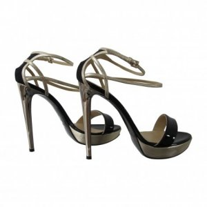 Just cavalli Strapped High-Heeled Sandals gold-colored-black leather