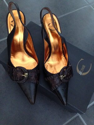 Just cavalli Slingback Pumps taupe-black brown leather
