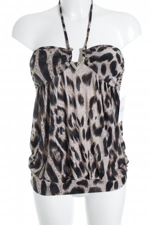 Just cavalli Spaghettiträger Top hellbeige-dunkelbraun Leomuster Party-Look