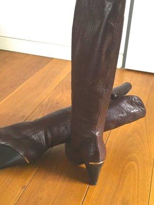 Just cavalli Stivale con tacco alto marrone scuro-oro Pelle