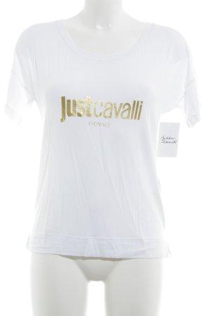 Just cavalli T-Shirt weiß-goldfarben Schriftzug gedruckt Casual-Look