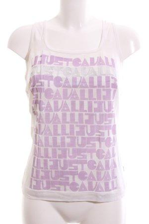 Just cavalli Tanktop wollweiß-lila Schriftzug gedruckt Casual-Look