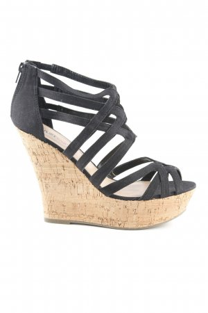 Just Fab Wedges Sandaletten schwarz-creme Casual-Look
