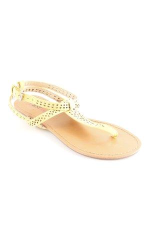 Just Fab Sandalo toe-post giallo scuro-marrone motivo a quadri stile spiaggia