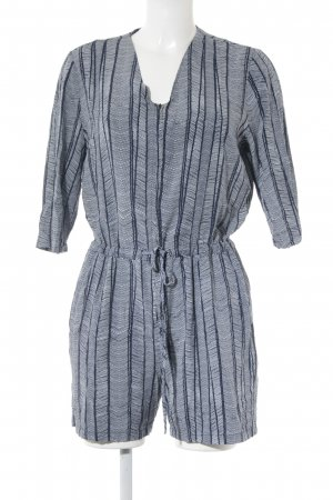 Just Female Jumpsuit weiß-dunkelblau grafisches Muster Beach-Look
