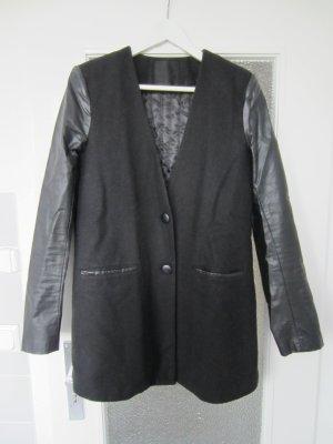 Just Female schwarz Wolle Leder Mantel Gr. M TOP